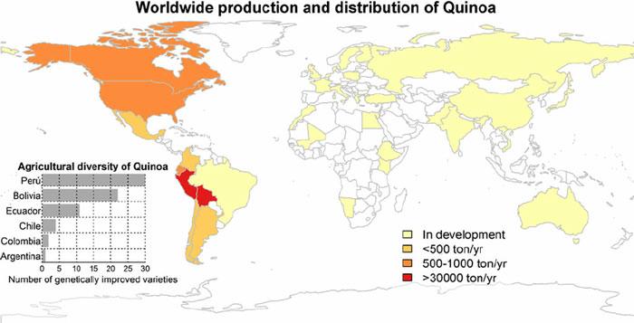 نقشه پراکندگی کشت کینوا در دنیا